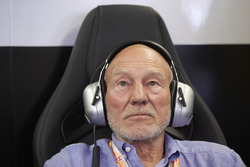 Sir Patrick Stewart in the Mercedes garage