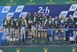 Podium: race winners Timo Bernhard, Earl Bamber, Brendon Hartley, Porsche Team, second place Ho-Pin Tung, Oliver Jarvis, Thomas Laurent, DC Racing, third place Mathias Beche, David Heinemeier Hansson, Nelson Piquet Jr., Vaillante Rebellion Racing
