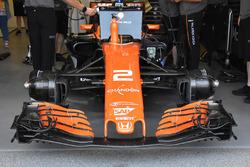 Dettaglio anteriore della monoposto di Stoffel Vandoorne, McLaren MCL32
