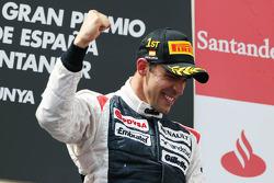 Race winner Pastor Maldonado, Williams F1 Team celebrates on the podium