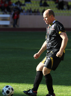 HSH Prince Albert of Monaco, plays in the charity football match