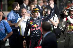 Race winner Mark Webber, Red Bull Racing celebrates on the podium