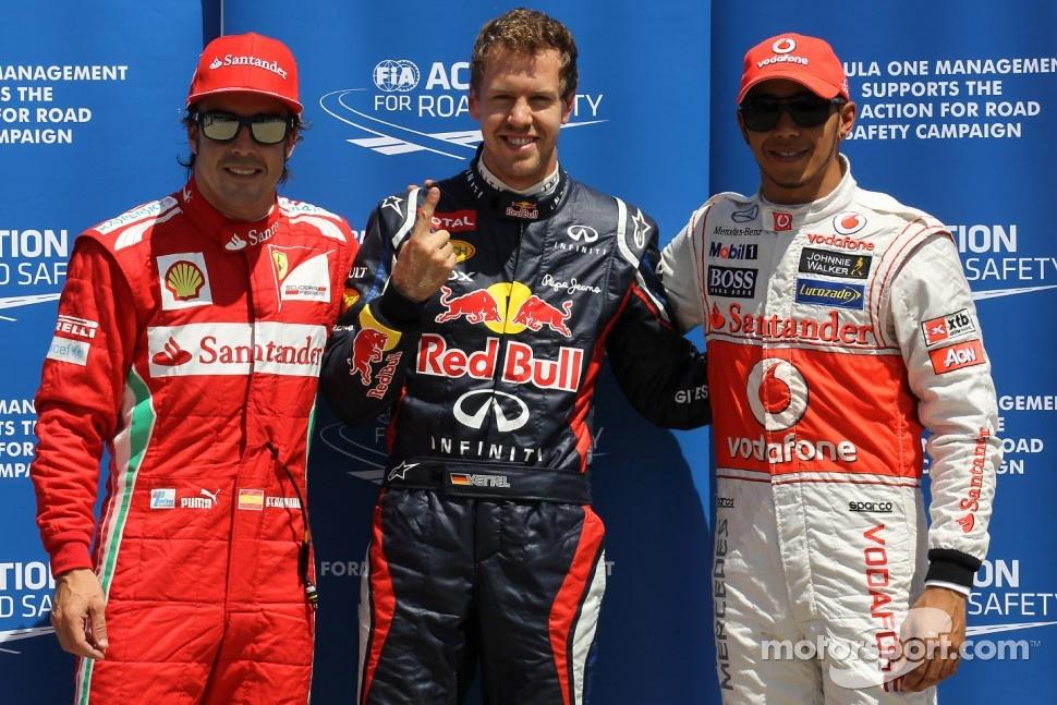 Qualifying results, 1st Sebastian Vettel, Red Bull Racing 2nd place Lewis Hamilton, McLaren Mercedes Mercedes and 3rd place Fernando Alonso, Scuderia Ferrari