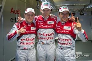 Pole winners Marcel Fässler, Andre Lotterer and Benoit Tréluyer celebrate