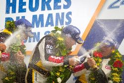 LMGTE Am podium: class winners Patrick Bornhauser, Julien Canal, Pedro Lamy