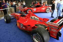 Michael Schumacher world championship F1-2000 on display with Risi Competizione 458 Italia Grand Am car