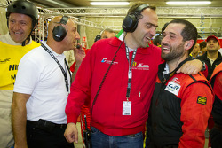 AF Corse team members celebrate after their succesful work on the #71 AF Corse Ferrari 458 Italia