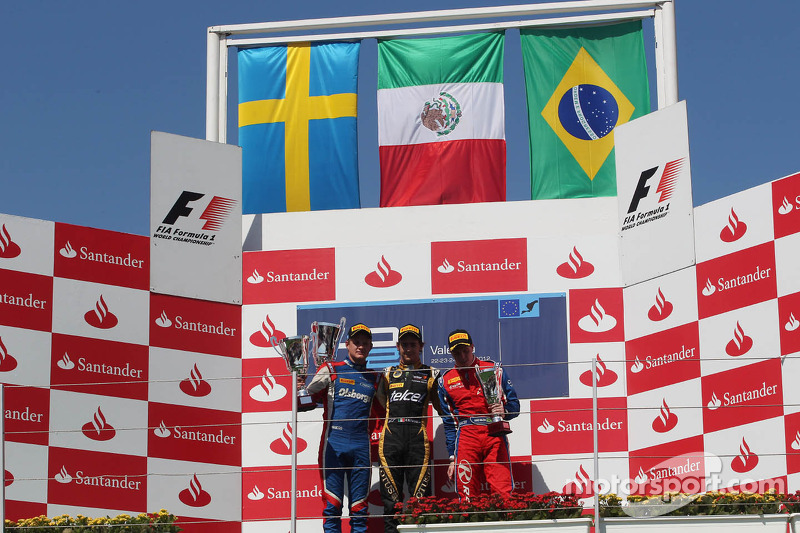 Podium: race winner Esteban Gutierrez, second place Marcus Ericsson, third place Luiz Razia
