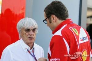 Bernie Ecclestone, CEO Formula One Group, with Stefano Domenicali, Ferrari General Director