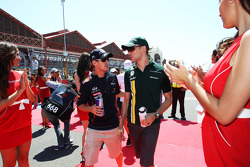 Sebastian Vettel, Red Bull Racing and Vitaly Petrov, Caterham on the drivers parade