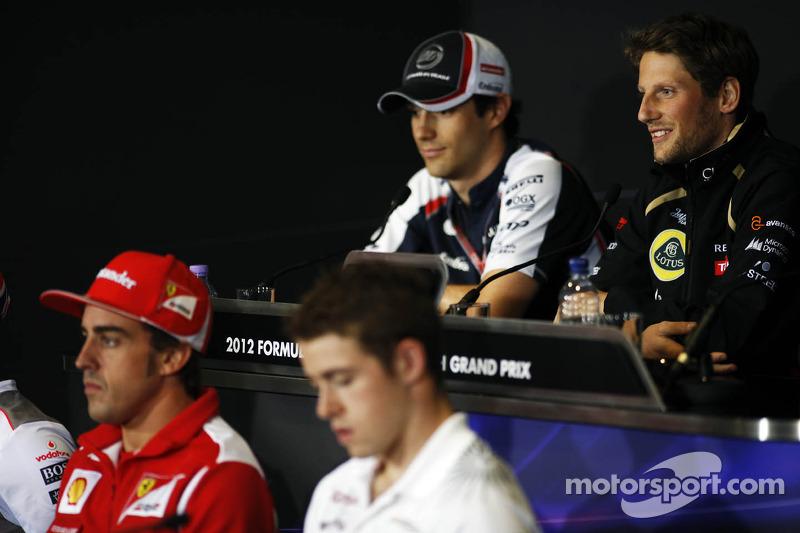 Fernando Alonso, Ferrari; Paul di Resta, Sahara Force India F1; Bruno Senna, Williams and Romain Grosjean, Lotus F1 Team in the FIA Press Conference