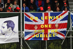 Banner and flag for Lewis Hamilton, McLaren