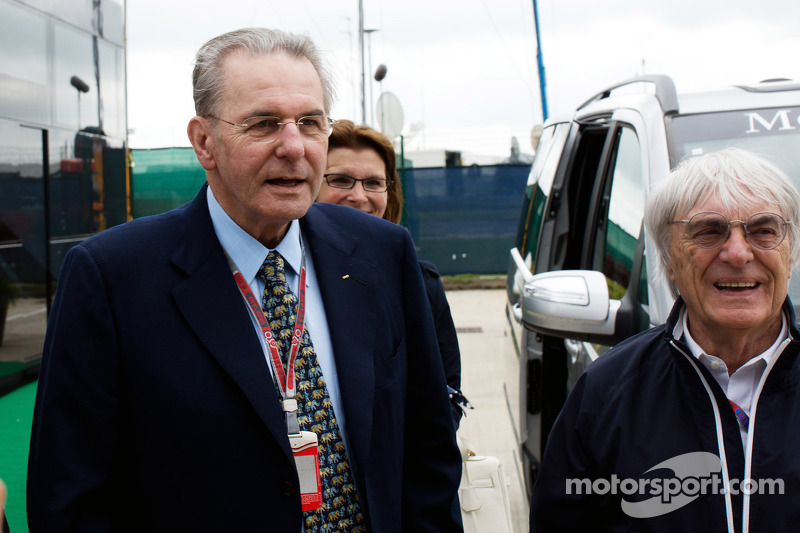 Jacques Rogge, IOC President with Bernie Ecclestone, CEO Formula One Group