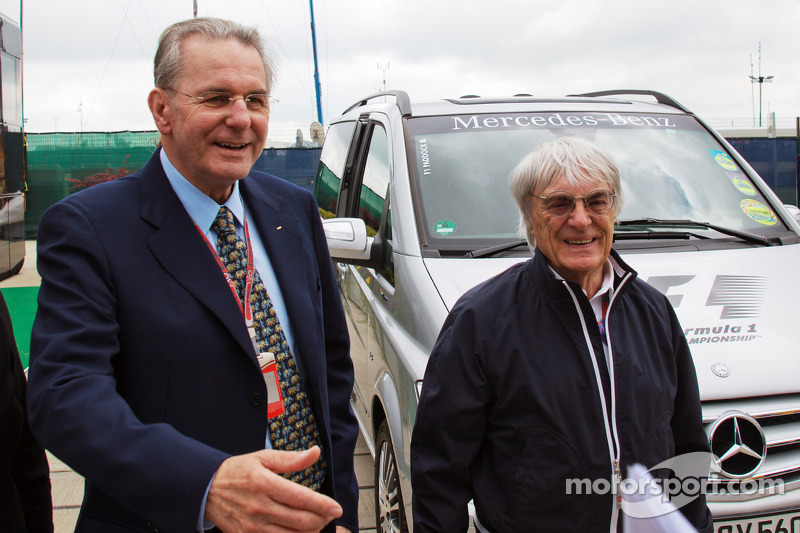 Jacques Rogge, IOC President met Bernie Ecclestone, CEO Formula One Group