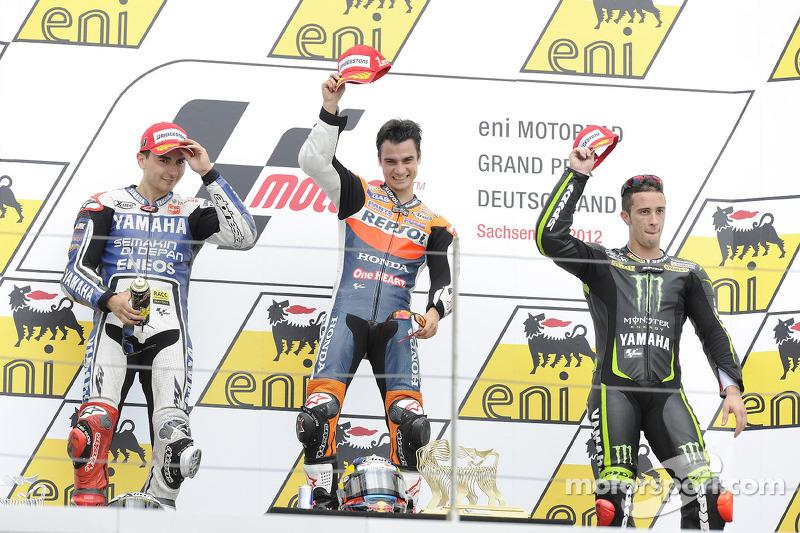 2012. 1 Dani Pedrosa. 2 Jorge Lorenzo. 3 Andrea Dovizioso
