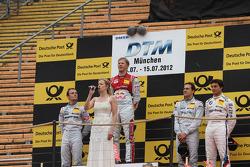 Podium: second place Jamie Green, Team HWA AMG Mercedes, AMG Mercedes, first place Mattias Ekström, ABT Sportsline Audi A5 DTM, third place Bruno Spengler, BMW Team Schnitzer BMW M3 DTM and Gary Paffett, Team HWA AMG Mercedes