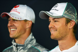 Nico Rosberg, Mercedes AMG F1, and team mate Michael Schumacher, Mercedes AMG F1 in the FIA Press Conference