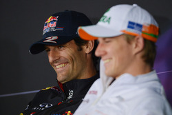 Mark Webber, Red Bull Racing and Nico Hulkenberg, Sahara Force India F1 in the FIA Press Conference