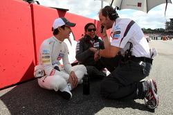 Kamui Kobayashi, Sauber F1 Team y Monisha Kaltenborn, Directora Gerente, Sauber F1 Team