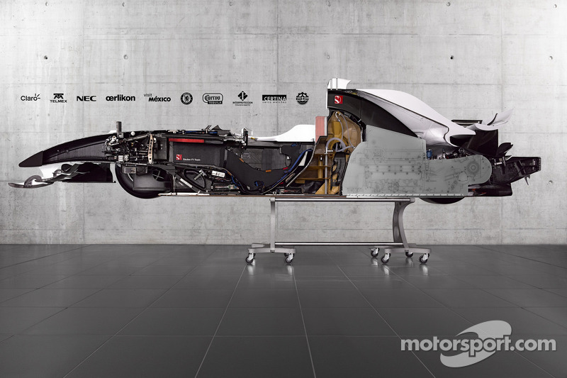 A cutaway view of the Sauber F1.08