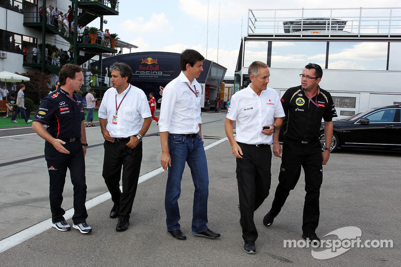 Christian Horner, Red Bull Racing Team Principal; Pasquale Lattuneddu, of the FOM; Toto Wolff, Williams Non Executive Director; Martin Whitmarsh, McLaren Chief Executive Officer and Eric Boullier, Lotus F1 Team Principal head to a meeting with Bernie Eccl