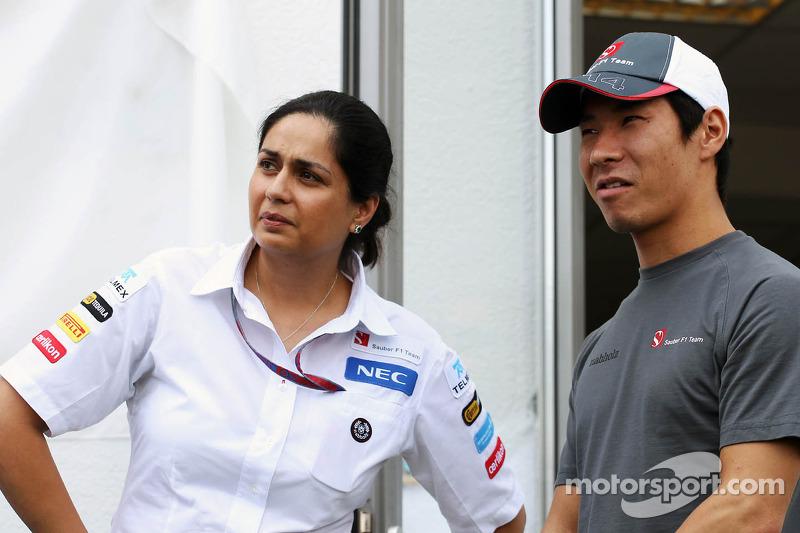 Monisha Kaltenborn, Sauber Managing Director with Kamui Kobayashi, Sauber