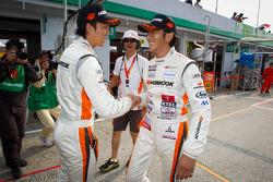 GT300 pole winners Tomonobu Fujii and Masami Kageyama