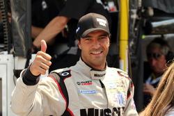 Lucas Luhr celebrates pole position