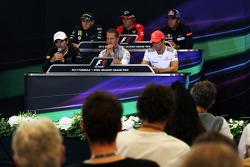 The FIA Press Conference, Caterham; Charles Pic, Marussia F1 Team; Jean-Eric Vergne, Scuderia Toro Rosso; Pedro De La Rosa, HRT Formula 1 Team; Michael Schumacher, Mercedes AMG F1; Jenson Button, McLaren