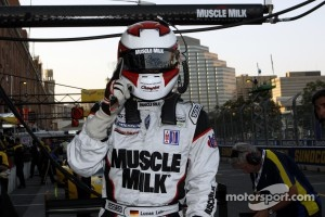 Pole winner Lucas Luhr celebrates