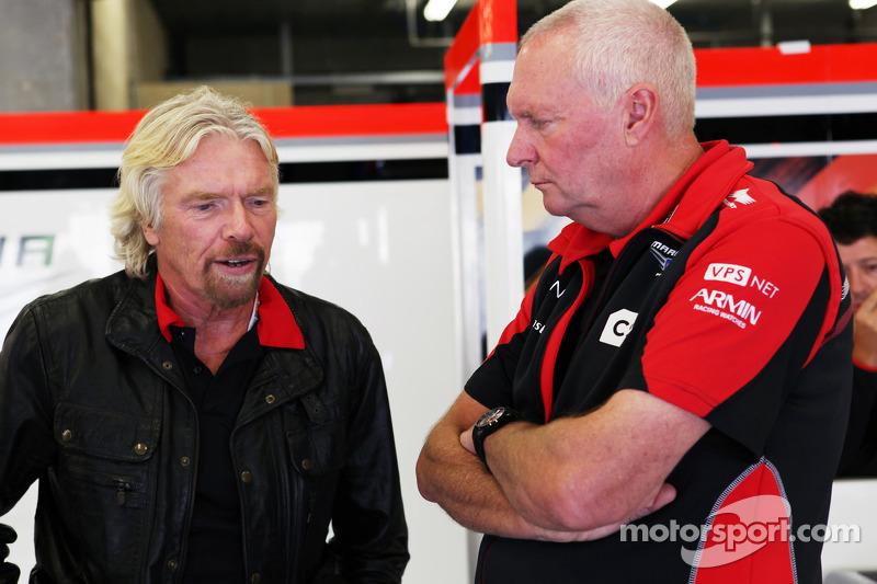 Sir Richard Branson, Virgin Group Owner with John Booth, Marussia F1 Team Team Principal