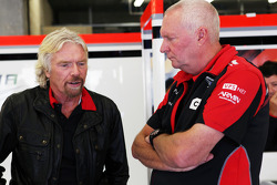 Sir Richard Branson, Virgin Group Owner with John Booth, Marussia F1 Team Team Principal