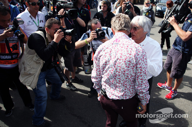Eddie Jordan, BBC Television Pundit with Bernie Ecclestone, CEO Formula One Group