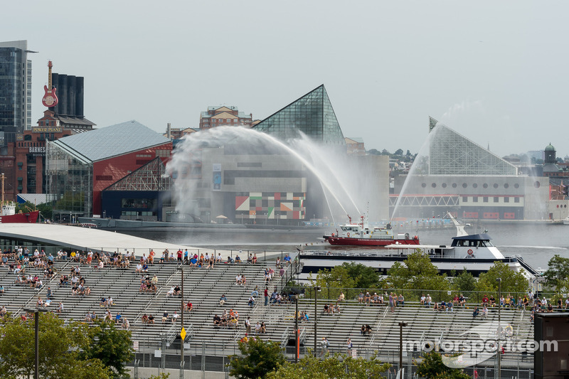 Baltimore Fire Department boat sprays water in the harbor