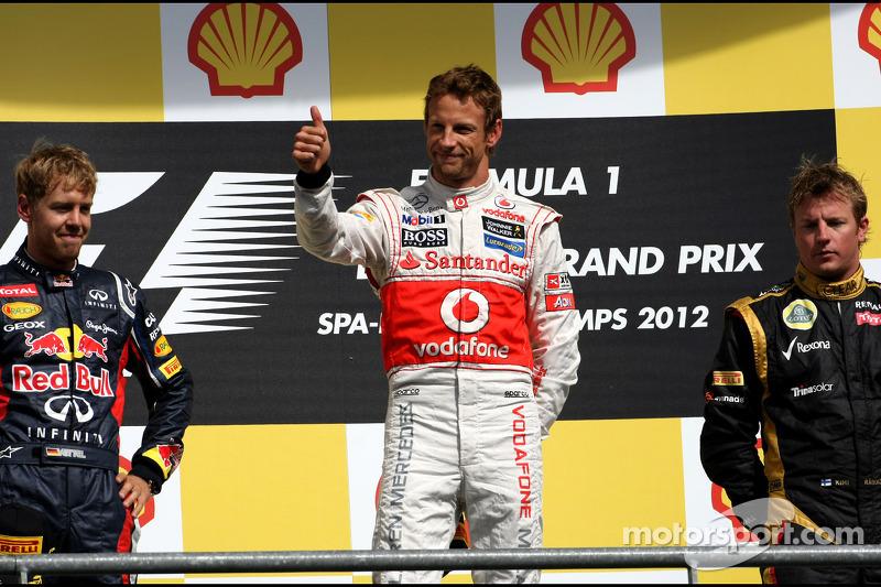2012: 1. Jenson Button, 2. Sebastian Vettel, 3. Kimi Räikkönen