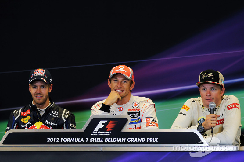 Post race FIA Press Conference, Red Bull Racing, second; Jenson Button, McLaren, race winner; Kimi R