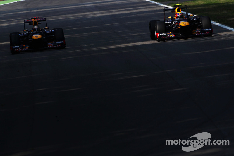 Sebastian Vettel, Red Bull Racing en ploegmaat Mark Webber, Red Bull Racing