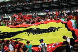Huge Ferrari flag under the podium