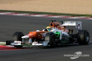 Luiz Razia testing Sahara Force India F1 car at Magny Cours
