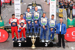 Podium: winners Jari-Matti Latvala and Miikka Anttila, Ford Fiesta RS WRC, Ford World Rally Team, second place Sébastien Loeb and Daniel Elena, Citroën DS3 WRC, Citroën Total World Rally Team, third place Petter Solberg and Chris Patterson, Ford Fiesta RS