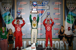 Podium: race winner Ed Carpenter, Ed Carpenter Racing Chevrolet, second place Dario Franchitti, Target Chip Ganassi Racing Honda, third place Scott Dixon, Target Chip Ganassi Racing Honda