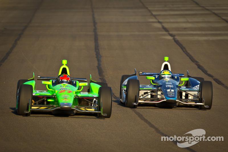 James Hinchcliffe, Andretti Autosport Chevrolet en Tony Kanaan, KV Racing Technology Chevrolet