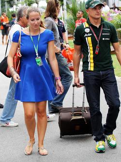 Heikki Kovalainen, Caterham with his girlfriend Catherine Hyde