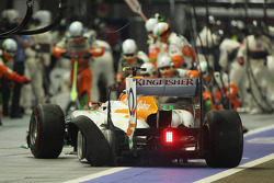 Nico Hulkenberg, Sahara Force India F1 makes a pit stop with a punctured tyre