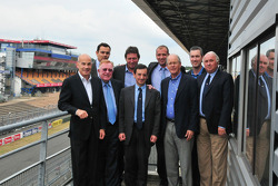 Scott Atherton (ALMS President and CEO), Frédéric Lénart, (ACO General Manager), Don Panoz (ALMS Founder and Vice Chairman of the Board of the ALMS Grand-Am merger), Gérard Neveu (FIA World Endurance Championship General Manager), Pierre Fillon (Automobil