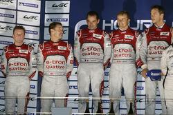 Overall podium: winners Marcel Fässler, Benoit Tréluyer, Andre Lotterer, second place Tom Kristensen, Allan McNish