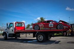Crashed car of #13 Ferrari of Ontario 458CS: Marc Muzzo