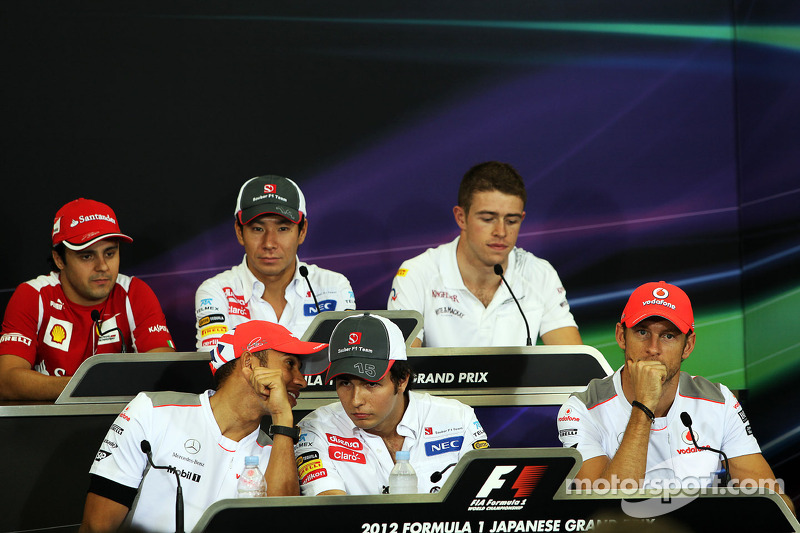 The FIA Press Conference, Ferrari; Kamui Kobayashi, Sauber; Paul di Resta, Sahara Force India F1; Lewis Hamilton, McLaren; Sergio Perez, Sauber; Jenson Button, McLaren