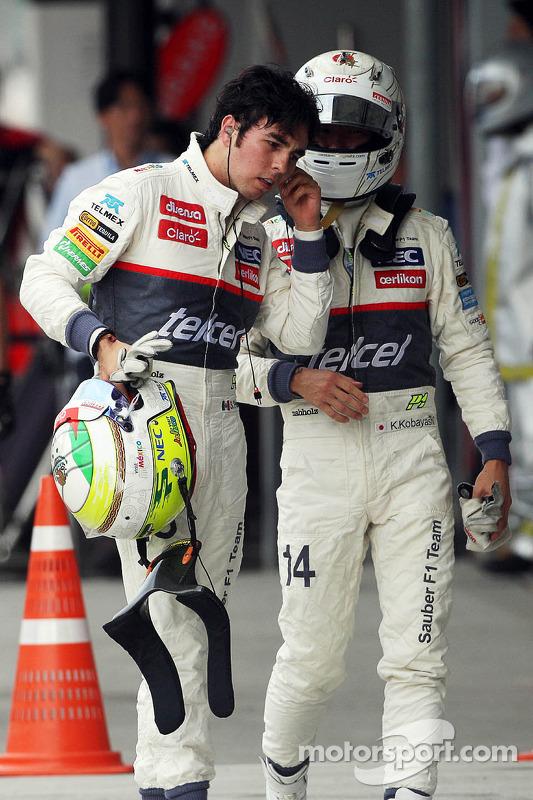 Kamui Kobayashi, Sauber with team mate Sergio Perez, Sauber in parc ferme