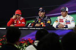 The FIA Press Conference, Felipe Massa, Ferrari, second; Sebastian Vettel, Red Bull Racing, race winner, Kamui Kobayashi, Sauber, third